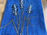 ヴィンテージ藍の小さな布絵 麦の穂の画像