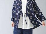 【wafu】石川県産 刺繍リネン作務衣 羽織 男女兼用 やや薄手/サークル刺繍 ネイビー h037o-ssb1の画像