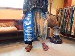 コロナにまけるな応援価格手ぬぐいリメイク☆藍染めボカシと組み合わせてサルエルパンツの画像
