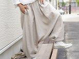 【wafu】リネン サルエルパンツ エスニック アジアン 男女兼用 やや薄手 40番/亜麻ナチュラル b020b-amn1の画像