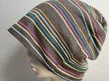 カットソー素材の帽子  ココア色のカラフルの画像