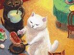 カマノレイコ オリジナル猫ポストカード「パンケーキ」2枚セットの画像