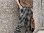 ☆受注製作 ストレートパンツ パンツ クロップドパンツ プラスサイズのリネン レトロルーズコットンとリネン チェックの画像
