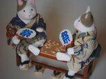 縮緬福猫 「縁台将棋」その二の画像