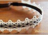 手編みレースのヘアバンド*White Beads*Mサイズの画像
