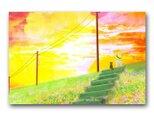 「13月、夕暮れによりかかって」 夕日 猫 少女 ほっこり癒しのイラストポストカード2枚組No.1378の画像