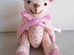ピンクのチューリップ柄テディベアの画像