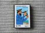 フランス 漫画 切手ブローチ 7596の画像