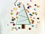 『自分で作るガラスのクリスマスツリーセット』White①ライトグリーンonホワイトの画像