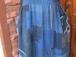 古布リメイク 藍染襤褸2wayジャンバースカート ボロ木綿 藍染 刺し子 襤褸 一点物 ハンドメイドの画像
