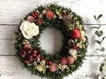 【煌めくクリスマス!】ホワイトローズと千日紅のクリスマスリースの画像