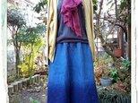 自然染め リネン藍染めドレ-プグラデ-ションスカ-トの画像