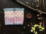 レトロ小花のロングリストウォーマー【ピンクグレー】の画像