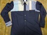 さをり織り+ウール紺色ジャージメンズシャツM寸の画像