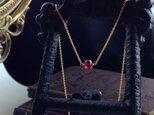 14KGF モザンビークガーネットのひと粒ネックレスの画像