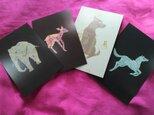 切り絵ポストカード 4枚セット 2 組み合わせ自由の画像