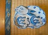 染付け 兎 菓子皿 sksp14011の画像