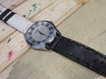 白×黒レザー使用 本革腕時計 Lサイズの画像