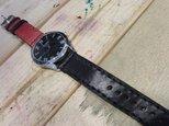 レッド&ブラック バイカラー本革腕時計 Lサイズの画像