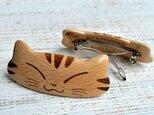 猫のバレッタ【ニコニコ】ヨーロピアンビーチ材の画像