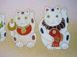 招き猫手描きの京友禅染 絵のみ(2)クリーム薄ピンク地色の画像