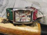 グリーン&ピンク レディース 本革腕時計の画像