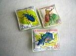 ぷっくりブローチ 昆虫切手セットの画像
