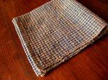 藍と茶綿の手織り小布の画像