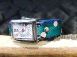 ターコイズドット レディース 本革腕時計の画像