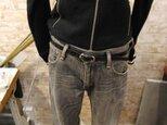 牛本革1.5cm幅のブラック/黒レザーベルト 140cmまで長いサイズ・100cm以下サイズ調整無料 メンズ・レディース両用の画像