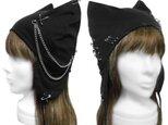 パンク[チェーン&ピンクロス] 耳あて付ネコ耳帽子◆コットンニット/ブラックの画像