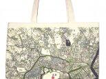 江戸古地図トートマップ ショルダートート 11号帆布アズキの画像