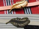 真鍮ブラス製 生地・燻仕上げどちらか選択可能 フェザー,羽型帯留め 着物や浴衣の帯締め飾りにの画像