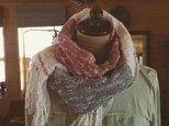 手織り コットン100& レッド&グレーの画像