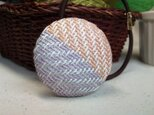 手織り布 ヘアゴム 藤色×オレンジの画像