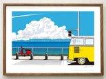「海岸線を越えて」 湘南イラスト ポスター(A2サイズ)の画像