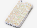 iPhone6/6sケース 天然貝ケース(鞠・白カバー)<螺鈿アート>の画像