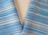 蝋しけ引き絹半衿(青濃淡光沢細)の画像