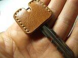 キャメルのキージャケット ベージュステッチ の画像