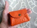 【新作】橙色(オレンジ)トリヨンのぷっくりポーチ・ミニの画像