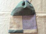リネンの巾着袋 green&blue stripeの画像