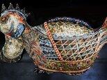 彩門縄文様極彩色烏骨鶏の画像