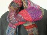 お気に入りの毛糸たちの手織り綾織マフラーの画像