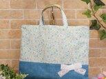 花柄&リボンのレッスンバッグ(通園袋):水色の画像