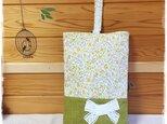 花柄&リボンのシューズバッグ:黄色の画像