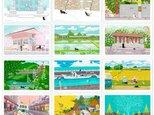 たびねこポストカード  Bセット(作家手作りーお得な12枚入)の画像