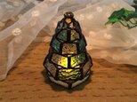 【小さなもみの木ランプ】ステンドグラス・ミニランプ(LEDライト付)の画像