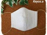 (L)綿ワッフル白*ワイヤ入り立体マスクの画像