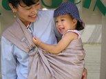 抱っこ紐 新生児 ベビースリング ムラ染シャンブレーコットン(ペールブラウン)の画像