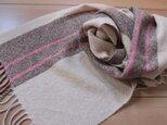 手織り アルパカのマフラー ベージュに焦げ茶とピンクの画像